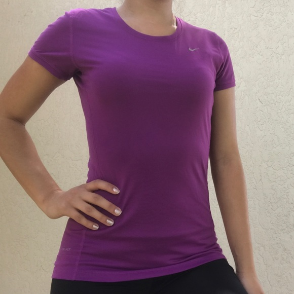 Details about Nike Womens Short Sleeve Dri Fit Running Workout Shirt Purple ~ Size Small